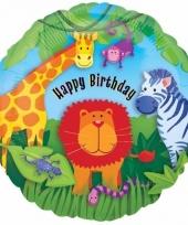 Verjaardag folie ballonnen safari dieren 43 cm