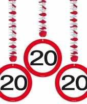 Verjaardag versiering rotorspiraal 20 jaar 6 stuks