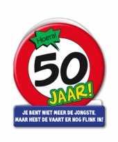 Verjaardagskaart stopbord 50 jaar