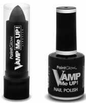 Verkleed accessoires matte zwarte vampiers schmink nagellak lipstick