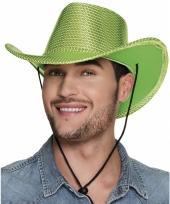 Verkleed grote cowboyhoeden lime groen met pailletten
