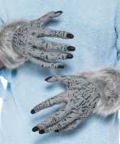 Verkleed handschoenen weerwolf grijs