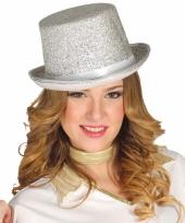 Verkleed hoge hoed zilveren glitters