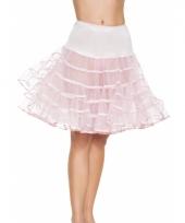 Verkleed lange petticoat licht roze voor dames