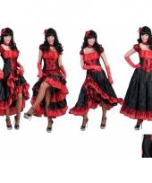 Verkleedkleding dansjurk rood met zwart