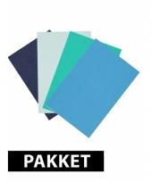 Verschilende kleuren blauw a4 karton 4x