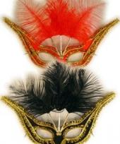 Verschillende klereun oogmaskers met veren
