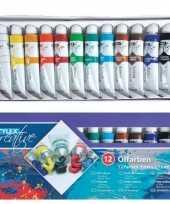 Verschillende kleuren olieverf 12 delig
