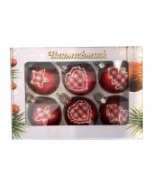 Vintage stijl kerstballen rood 6 stuks
