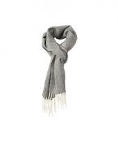 Visgraat sjaal met gedraaide franje rood 10053582
