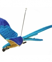 Vliegende ara knuffel blauw geel 76 cm