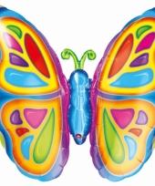 Vlinder folie ballonnen gekleurd 63 cm