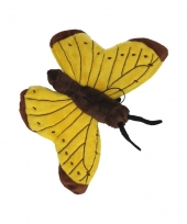 Vlinder knuffel geel 21 cm