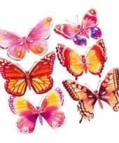 Vlinder stickers 3d roze oranje 6 stuks