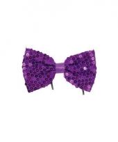 Vlinderstrik met paarse pailletten