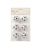 Voetbal kerstballen 6 stuks