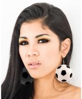 Voetbal oorbellen zwart met wit