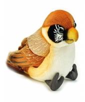 Vogel knuffel bruin 14 cm