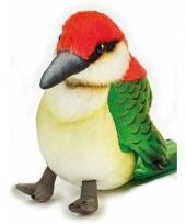 Vogel knuffel groen rood 14 cm