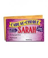 Voor de sarah kado cheque bedankje