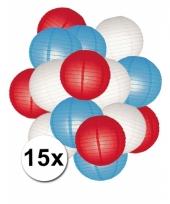 Voordeelset rood wit en blauwe lampionnen