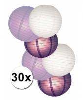 Voordeelset witte en paarse lampionnen