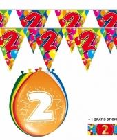 Voordeelverpakking 2 jaar met 2 slingers en ballonnen