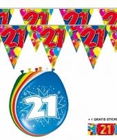 Voordeelverpakking 21 jaar met 2 slingers en ballonnen