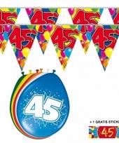 Voordeelverpakking 45 jaar met 2 slingers en ballonnen