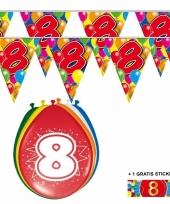 Voordeelverpakking 8 jaar met 2 slingers en ballonnen