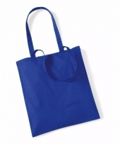 Voordelig blauwe katoenen draagtasje 10 liter