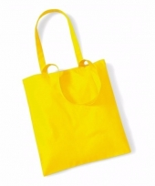 Voordelig gele katoenen draagtasje 10 liter
