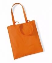 Voordelig oranje katoenen draagtasje 10 liter