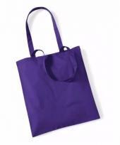 Voordelig paarse katoenen draagtasje 10 liter