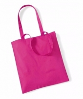 Voordelig roze katoenen draagtasje 10 liter