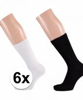 Voordelige zwarte en witte sokken voor dames 6x
