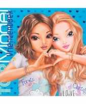 Vriendschapsboek topmodel blauw 21 cm