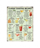 Wandplaat classic cocktail recipes