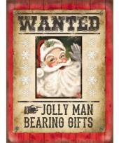 Wandplaat voor kerst wanted kerstman