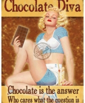 Wandplaatje dames chocolade diva