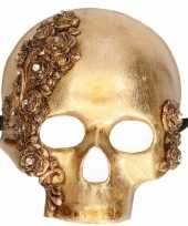 Wandversiering masker gouden schedel