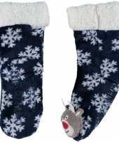 Warm gevoerde rendier huissokken blauw voor kinderen