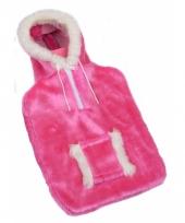 Warm water kruik roze sweater hoes 2 l