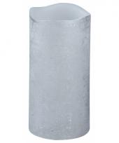Warm witte led kaars zilver 15 cm