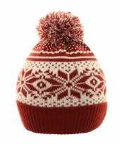 Warme schaatsmuts met pompon rood wit voor jongens en meisjes
