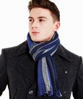 Warme sjaal blauw met grijs