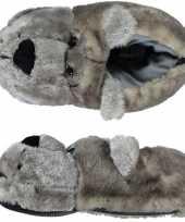 Warme sloffen pantoffels berenkop voor dames 10121938