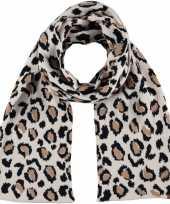 Warme wintersjaal met beige luipaard print voor kinderen