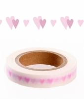 Washi knutsel tape met roze hartjes