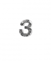 Wax cijfer 3 zilver